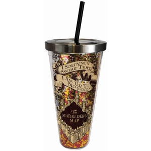 Harry Potter Solemnly Swear Glitter Cup with Straw