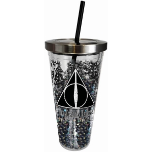 Harry Potter Deathly Hallows Glitter Cup with Straw