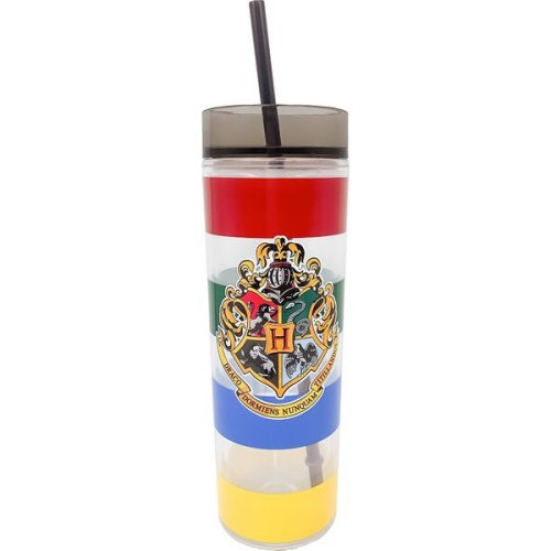 Harry Potter Hogwarts Crest Tall Cup with Straw.