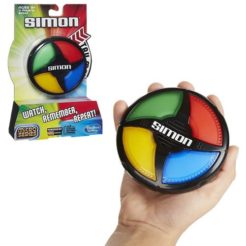 Simon Micro Series Game. Play alone in Solo mode or play with friends in Pass It mode. Ages 8 and up.