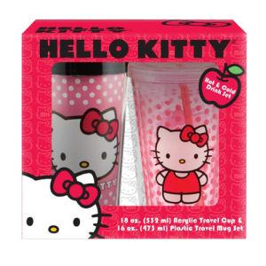 Hello Kitty Plastic Travel Mug and 18 Ounce Acrylic Cup Set