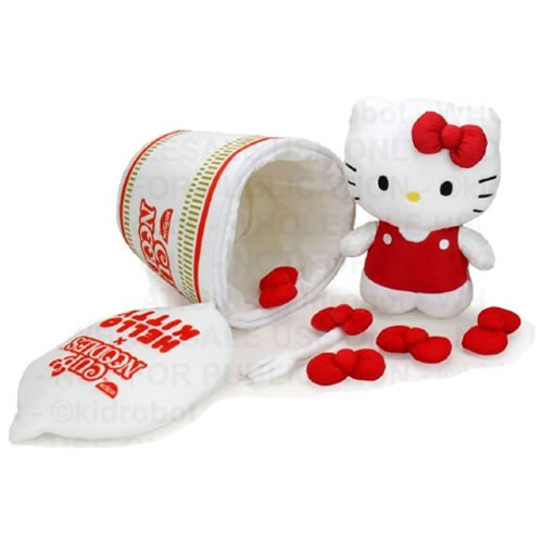 Nissin Cup Noodles and Hello Kitty Fork & Bow Plush. Measures 12 inches tall. The original Nissin Cup Noodles has been warming bellies and putting smiles on faces for 45 years.
