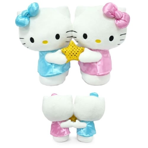 Hello Kitty Star Sign Gemini Medium Plush. This Hello Kitty Gemini Plush features twins holding a star and showing their gentle, affectionate, curious, and open-minded nature.