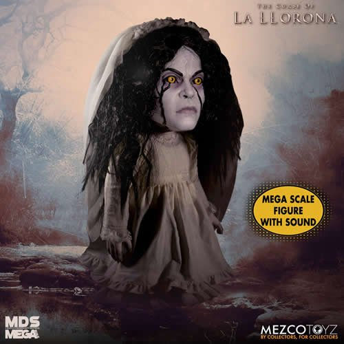 The Curse of La Llorona 15 Inch Mega Scale Talking La Llorona Doll. Depress the button discretely hidden on her back to activate sound. Doll stands at a forbidding 15 Inches tall and features 11 points of articulation