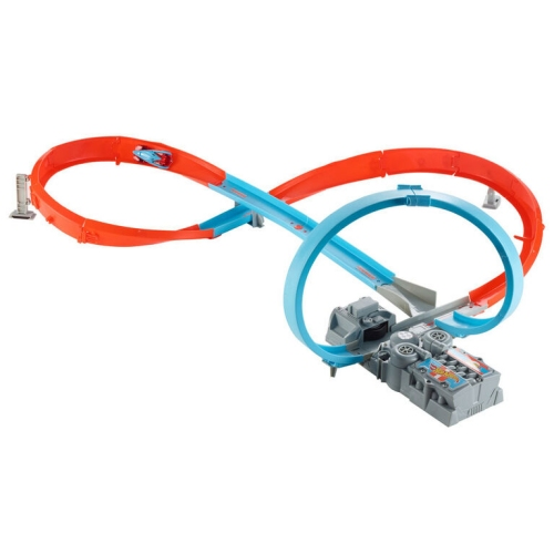 Hot Wheels Figure 8 Raceway With Loop. Motorized track set requires 2 D batteries Which are not included. Comes with 1 Hot wheels Vehicle.