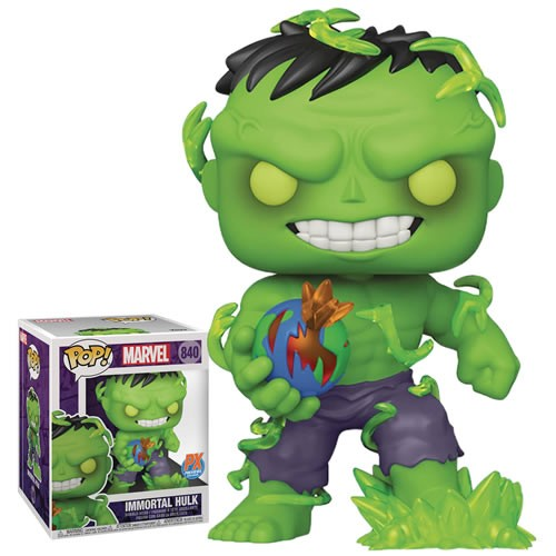 Marvel Comics 6 Inch Super Sized Immortal Hulk Exclusive Pop! Vinyl Figure. Immortal Hulk flickers with translucent gamma radiation effects, and holds the Earth in his hand with an intention to destroy this universe and start anew.