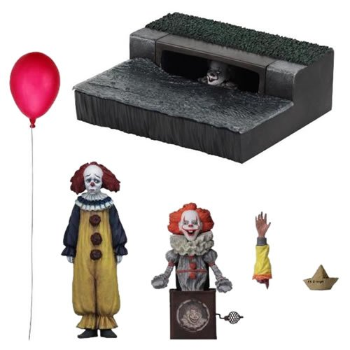 IT (2017 Movie)  Accessory Pack. Set includes: - Sewer Diorama Display Base (Featuring an exclusive-deco Pennywise face peeking out from the sewer grate!) - Pennywise Jack in the Box Accessory - Pennywise Puppet - Georgie Severed Arm Accessory - SS Georgi