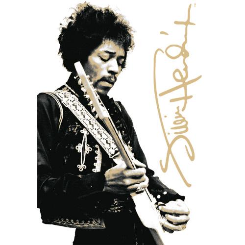 Jimi Hendrix Black and White Tin Sign