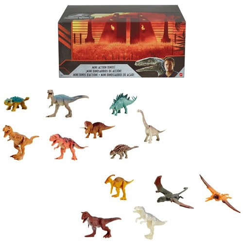Jurassic World Mini Dino Assortment Display Case. Case contains 24 mini dinosaur figures. These mini dinosaur action figures are movie-inspired and feature realistic sculpting, authentic decoration and one or more points of articulation iconic to its spec