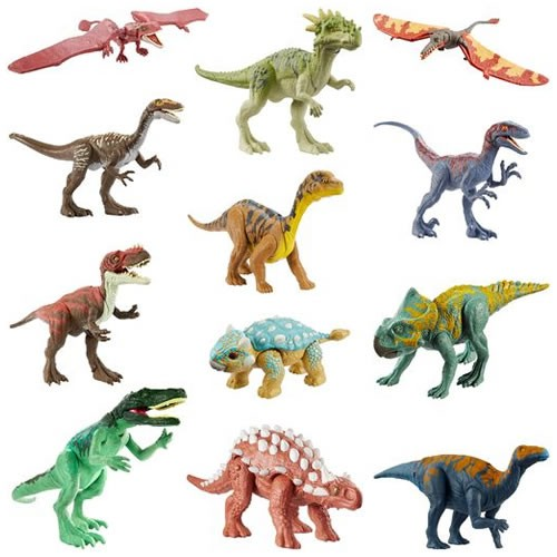 Jurassic World Attack Pack Figures Assortment. Each Attack Pack dinosaur figure includes five points of articulation, realistic sculpting and authentic decoration.