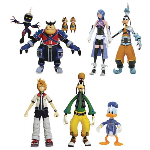 Kingdom Hearts Series 02 Select Figures Case. Three sets of figures arrive in Series 2, including Roxias with Donald Duck & Goofy  - Pete with Chip & Dale and a Soldier, - exclusive Aqua with Goofy in his Birth by Sleep outfit.