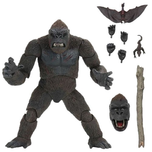 King Kong Skull Island King Kong 7 Inch Scale Action Figure. This massive figure has over 30 points of articulation. The figure includes two brand-new interchangeable heads (one with jaw articulation), 3 pairs of interchangeable hands, a pit monster, pter