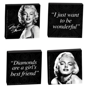 Marilyn Monroe 4 Piece Wood Tile Magnet Set