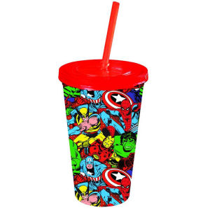 Marvel Comics Group Shot 16 Ounce Cold Cup with Lid and Straw