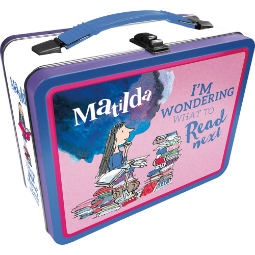Matilda Gen 2 Fun Box Lunchbox Tin Tote. Says what book should I read nest on the lunchbox.
