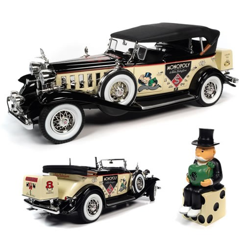Monopoly 1932 Cadillac V16 Sport Phaeton 1:18 Scale Diecast  Vehicle with Mr. Monopoly Resin Figure.