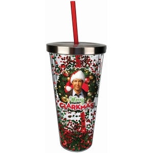 National Lampoon Christmas Vacation Merry Clarkmas Glitter Cup with Straw