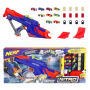 Nerf Nitro MotorFury Rapid Rally. The MotoFury Rapid Rally set comes with 6 cars and 3 cars that are special to this set. Includes blaster, 9 foam cars with plastic wheels - 12 obstacles - high-jump ramp - long-jump ramp - instructions. Ages 5 and up.
