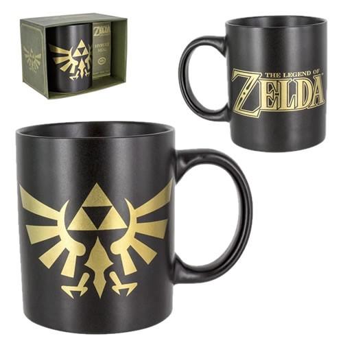 The Legend of Zelda Hyrule Mug. Has legend of zelda on one side and the Hyrule symbol in gold.
