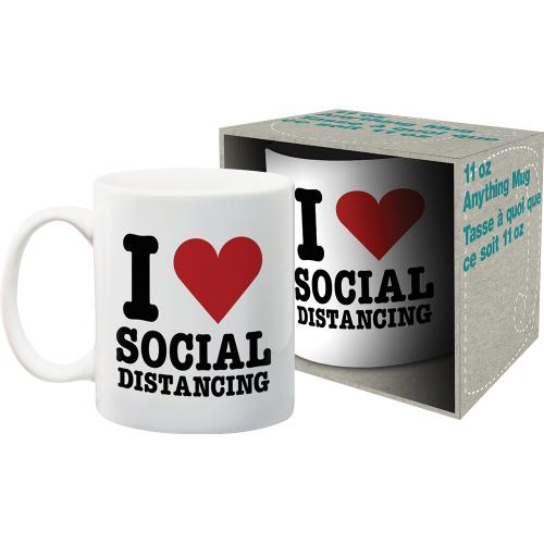 I Heart Social Distancing 11 Ounce Boxed Mug.