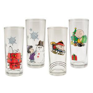 Peanuts Holiday 4 Piece 10 Ounce Glass Set