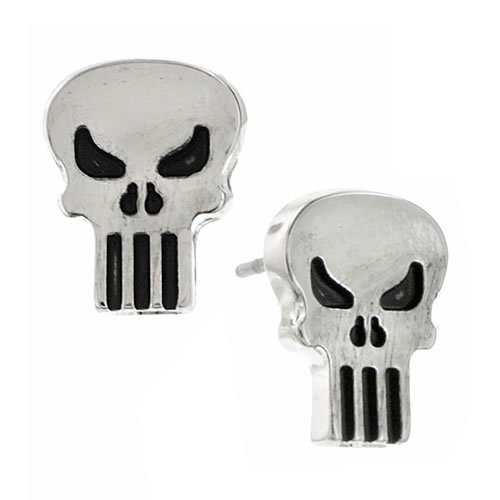 The Punisher Silver Tone Stud Earrings.