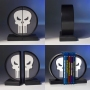Marvel Comics The Punisher Logo Bookends.The hand-painted Punisher logo bookends are manufactured using high-quality polystone. Measures 6 inches tall.
