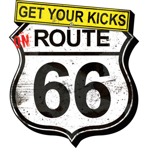 Get Your Kicks Route 66 Grunge Funky Chunky Magnet.
