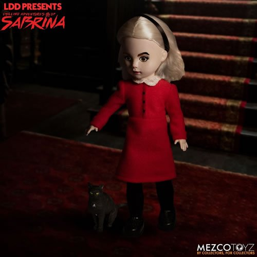 Living Dead Dolls Chilling Adventures Of Sabrina  Sabrina with Salem Doll. Sabrina is a half-human, half-witch who must reconcile her dual nature while fighting the evil forces that threaten her, her family, and the daylight world humans inhabit.
