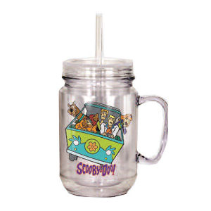 Scooby-Doo Group Clear Mason Style Plastic Jar with Lid and Handle
