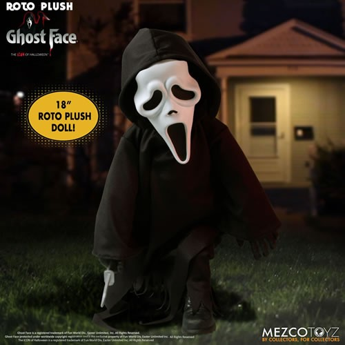 Scream 18 Inch Ghost Face Roto Plush Doll. This floppy Roto Plush is at home on the couch binge watching horror flicks, playing trivia games, or creeping you company at bedtime.