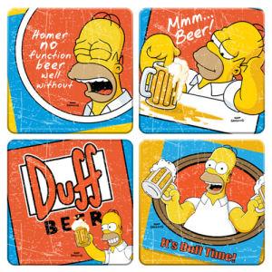 The Simpsons Duff Beer 4 Piece Wood Coaster Set