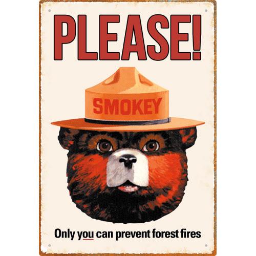 Smokey Bear Tin Sign.