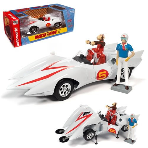 Speed Racer Mach 5 1:18 Scale Diecast Vehicle with Chim-Chim and Speed Racer Figures