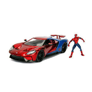 Spider-Man Hollywood Rides 2017 Ford GT 1/24th Scale Die-Cast Metal Vehicle with Figure