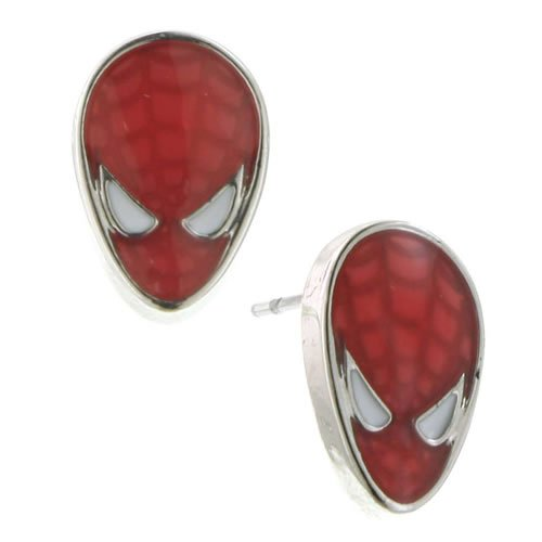Spiderman Silver Tone Red Enamel Stud Earrings. Finely detailed and great for any stylish Spider-fan.