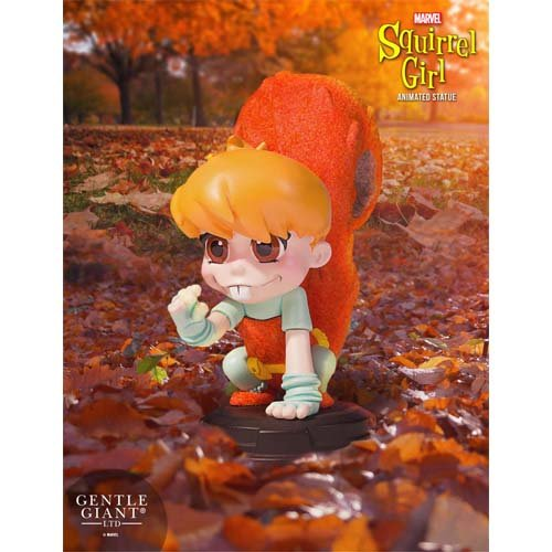 Marvel Statues 1/8 Scale Animated Squirrel Girl. Squirrel Girl, posed here as she was seen on the variant cover of Unbeatable Squirrel Girl #001, is the 14th character in the popular animated statue series.