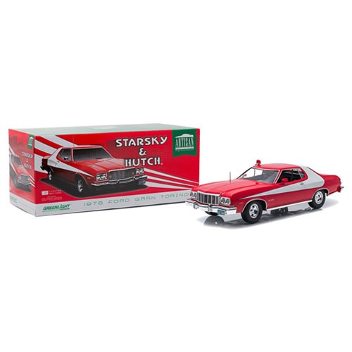 Starsky And Hutch 1:18 Scale Diecast 1976 Ford Gran Torino. The factory paint jobs are incredibly authentic! Most models include a carpeted interior, fabric seat-belts or both. Each 1:18th scale GreenLight replica is sequentially numbered on the base.