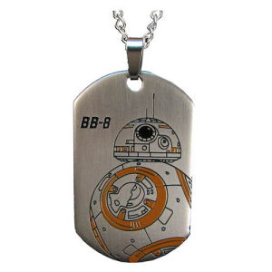 Star Wars Episode VII  The Force Awakens BB-8 Droid Laser Etched Stainless Steel Dog Tag Pendant Necklace