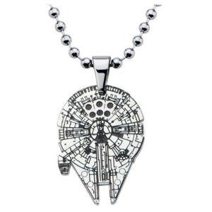 Star Wars Millennium Falcon Enamel Cut Out Pendant Stainless Steel Necklace