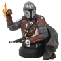 Star Wars The Mandalorian 1/6th Scale Mandalorian MK1 Mini Bust.  The bust depicts the bounty hunter with blaster and flamethrower at the ready. Statue features detailed sculpting and paint applications.