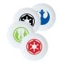 Star Wars 4 piece 8 inch Ceramic Plate Set. Each Plate has a Star Wars themed emblem on it. Be a rebel or an Imperial.