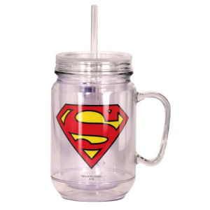 Superman Clear Mason-Style Plastic Jar with Lid and Handle