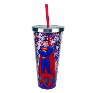 Superman Glitter Cup with Straw