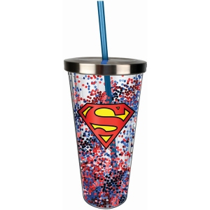 Superman Logo Glitter Cup with Straw