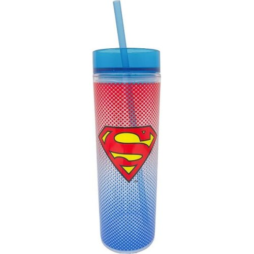 Superman 16 Ounce Tall Cup with Straw.