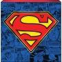 Superman Box Sign. Features Superman logo on a collage o covers background.