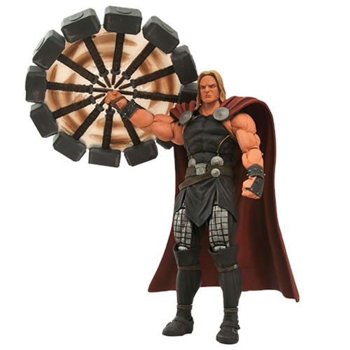 Marvel Select Mighty Thor Action Figure. Former Disney Store Exclusive! This highly detailed figure of Thor, God of Thunder, features multiple interchangeable parts, including Mjolnir, a spinning hammer effect and an alternate unhelmeted head.