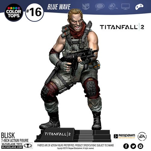 Titanfall 2  7 Inch Scale Blisk McFarlane Color Top Series Blue Wave Action Figure. Figure comes with G2A2 Assault Rifle and Mozambique sidearm.  The 7 Inch figure has multiple articulation points and stylized brand specific display base. Likeness of Blis