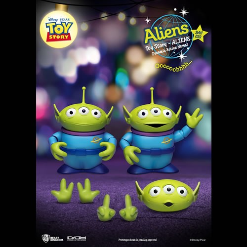 Toy Story Dynamic 8-ction Heroes Action Figures Alien 2-Pack. Includes two Aliens, two sets of hands, and one alternate face part.